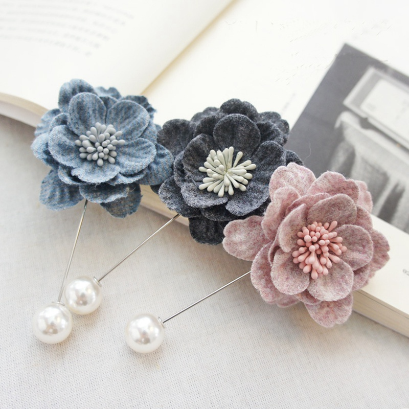 High-end Korean Fashion New Fabric Flower Bow Brooch Cardigan Silk Scarves Buckle Pin for Women's Clothing Accessories