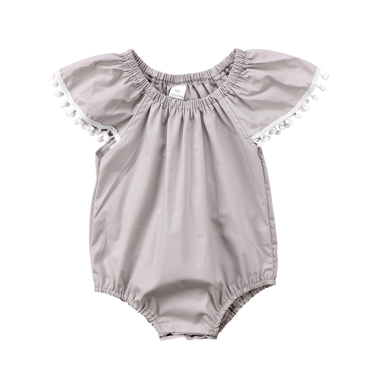 Summer Newborn Kid Baby Girl Clothe Cute Pom Pom Cotton   Romper   Short Sleeve Clothes Jumpsuit Infant Baby Girls Clothing 2018 New