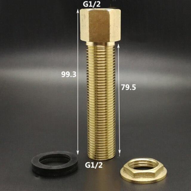 "1/2 ""BSP זכר נקבה חוט פליז אחת רופף מפתח מסתובב אגוז מתאם צינור משותף מחבר עבור דגי מים טנק אורך 100 מ""מ"