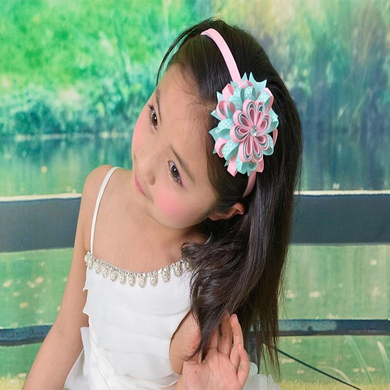 "50 pcs new style BLESSING Good Girl Modern Style Headband accessories 3.5"" B- Bird's Nest Hair Bow"