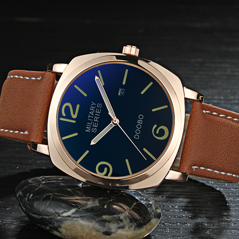 Mens Watches Top Brand Luxury DOOBO Men Military Sport Luminous Wristwatch Gold Leather Quartz Watch relogio masculino 2017 mens watches top brand luxury doobo military sport wristwatch leather hollow quartz watch relogio masculino montre homme watch