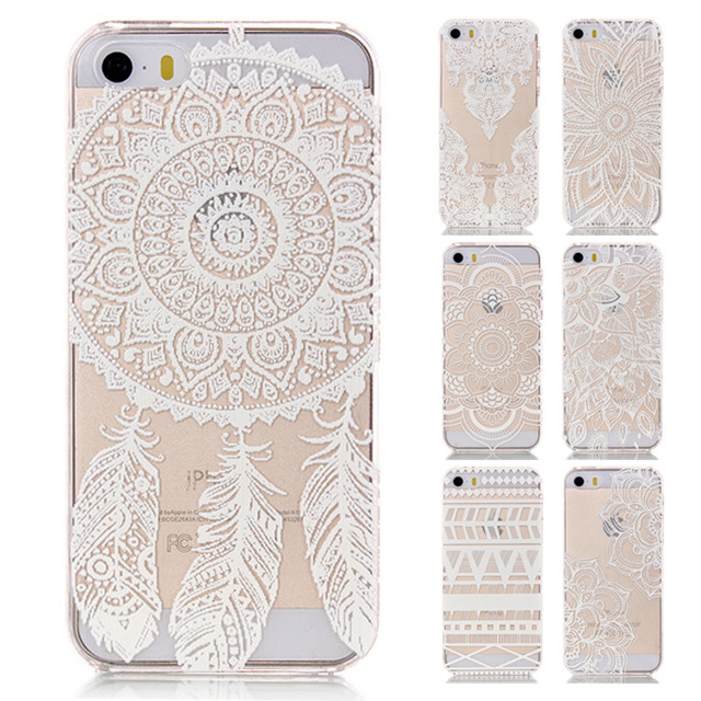 best website 80b8f 0db89 US $2.1 |Hard Plastic Case for iPhone 5 Clear Transparent Flower Back Cover  Capa for iPhone 5s Case Paisley Mandala Flower Phone Cases on ...