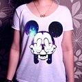 H4 Estilo Verão Mulheres T-shirt Tímido Estrela Mickey Dos Desenhos Animados Tops Solto Tee Moda Camisa