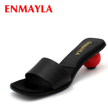 AirFour New Fashion Summer Sandals Shoes Women Slides Slippers Genuine Leather Charm Personality Black Color