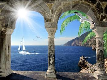 Papel pintado 3D europeo foto arcos mediterráneos velero mural papel pintado foto personalizado para pared