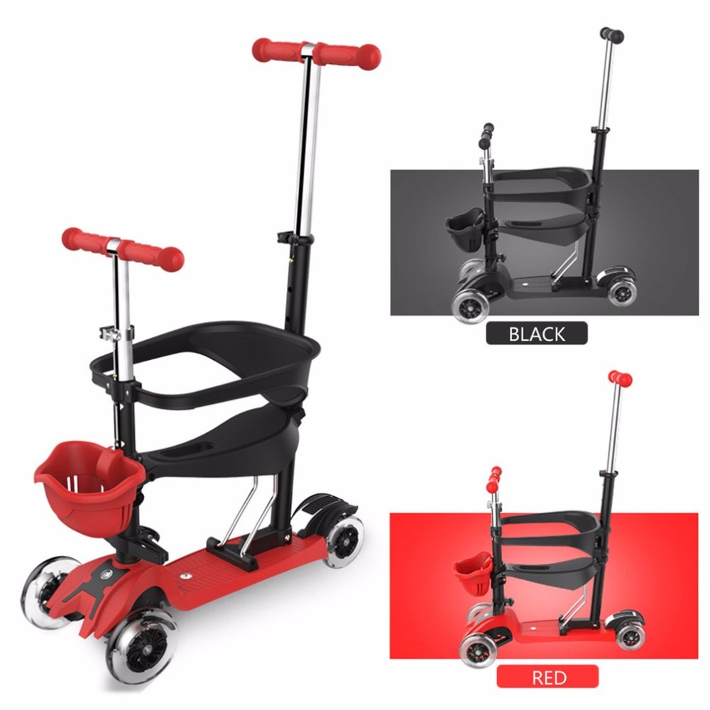 3-in-1 4 Wheels Skateboard Scooter Full Guardrail With Adjustable T-bar Handle Child Scooter For Toddler Kids car Baby Walker