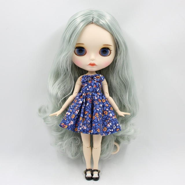 TBL Neo Blythe Doll Green Grey Hair Jointed Body
