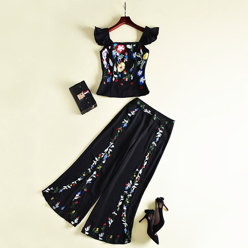 HIGH QUALITY New 2018 Designer Runway Suit Set Women's Stunning Embroidery Camis Wide Leg Pants Set