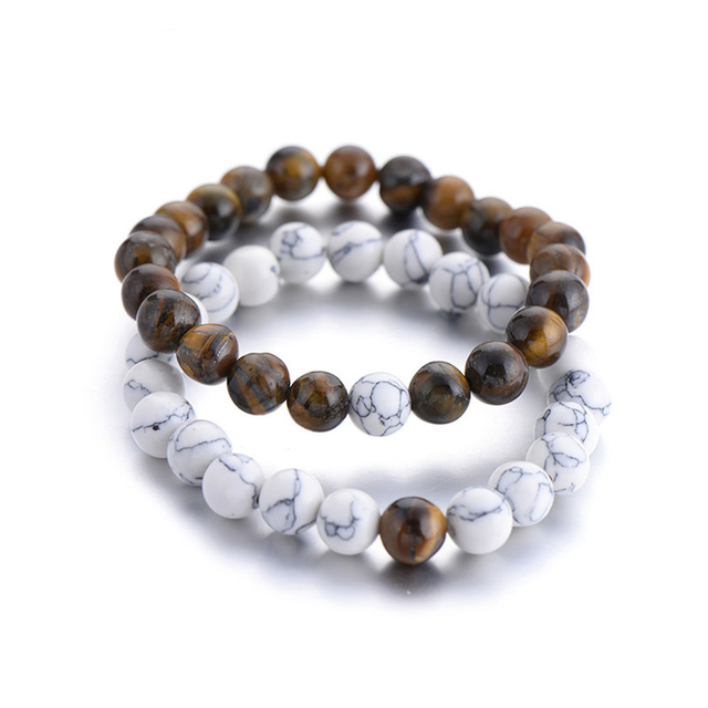 2Pcs/Set Natural Stone Fashion Distance Bracelets For Couple Tiger Eye Stone Yin Yang Buddha Strand Bracelet Men Women Jewelry 2