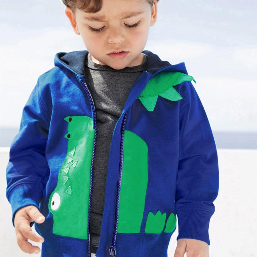 Младенческой Дети для маленьких мальчиков девушки мультфильм животных на молнии с капюшоном Верхняя одежда Пальто j29