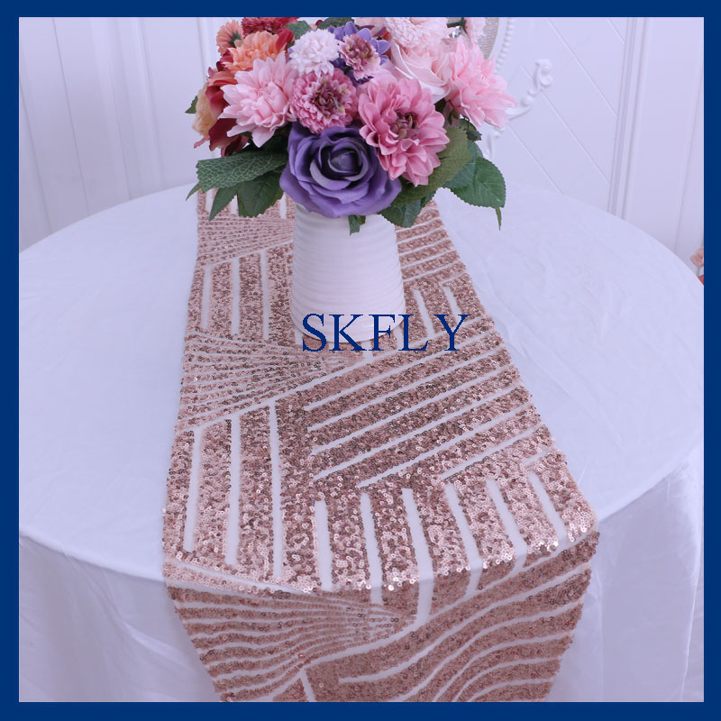 RU007A Elegant New Pattern Many Colors Available Wedding Rose Gold Sequin Table Runner