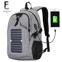 2017 Casual Nylon Solar Powered Backpack For Men 25L Fashion Cell Phone Charger Knapsack Anti Theft