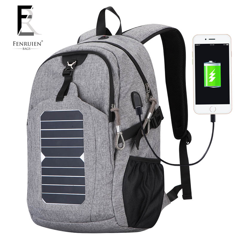 FENRUIEN Casual Solar Powered Backpack for Men 25L Fashion USB Charger Knapsack Anti theft Multifunction Laptop Backpack Women