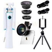 Camera Lens Kit HD 0.45X Góc Siêu Rộng Macro Ống Kính Fisheye Lentes Cho iPhone 4 5 5C 5 S 6 6 S 7 Cộng Với Mini Tripod Ảnh Tự Sướng Thanh