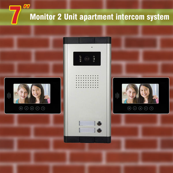 2 Units Apartment Intercom System 7 Inch Video Door Phone Intercom System Video doorbell DoorPhone visual intercom for apartment apartment intercom system 7 inch monitor video door intercom doorbell kit 8 units apartment video door phone interphone system