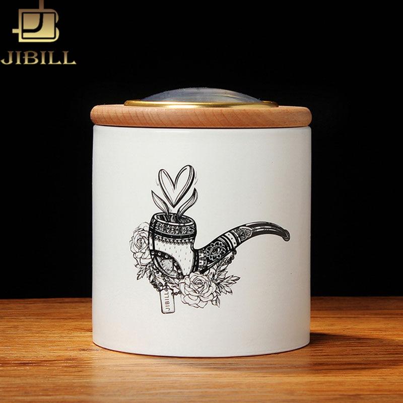 JIBILL Tempered Ceramic humidor jar Natural European beech wood Lid for Cigar Taobacco Coffee bean Tea