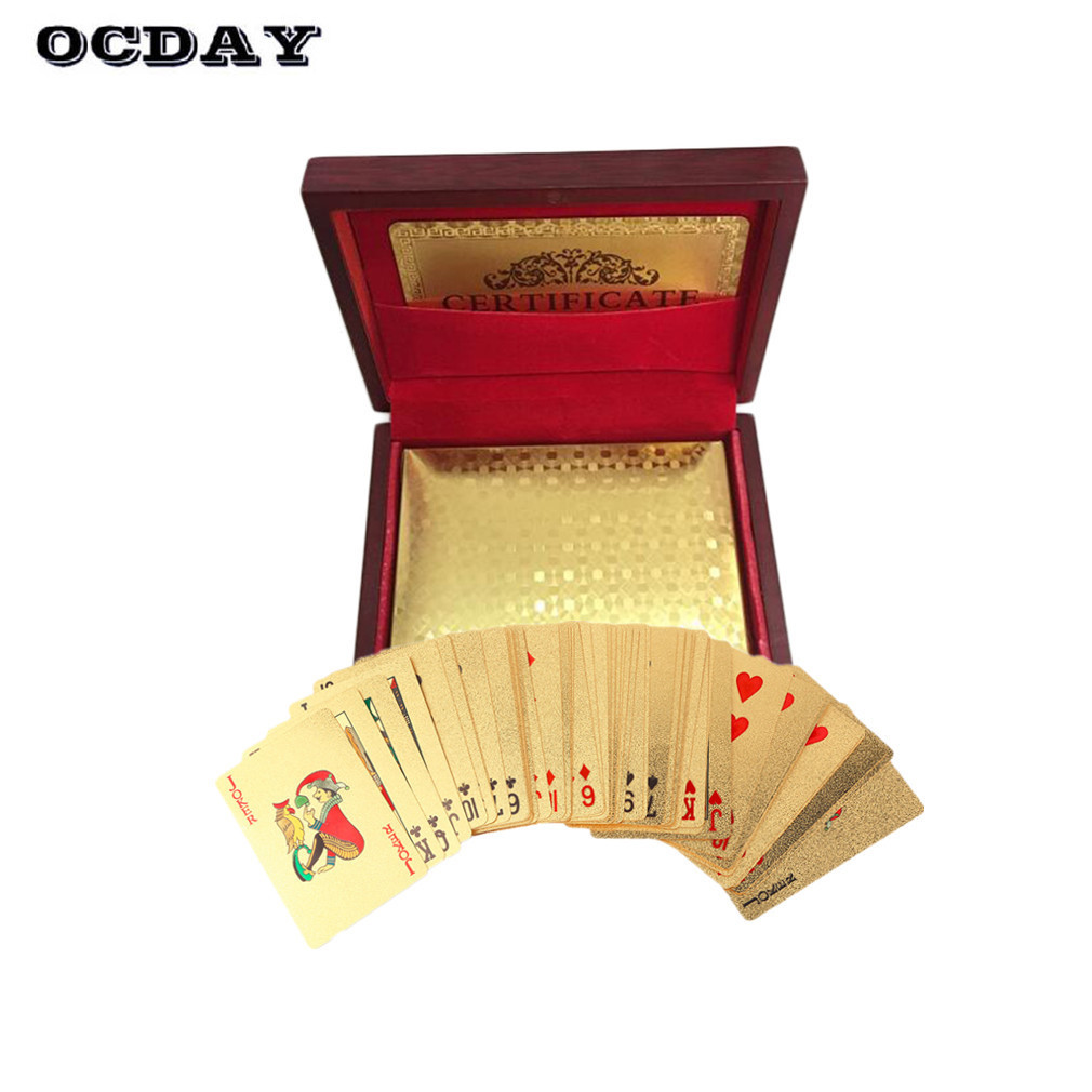 OCDAY 24k Gold Poker Cards Foil Plated Poker with Original Box Premium Matte Plastic Board Games Playing Cards For Children Gift