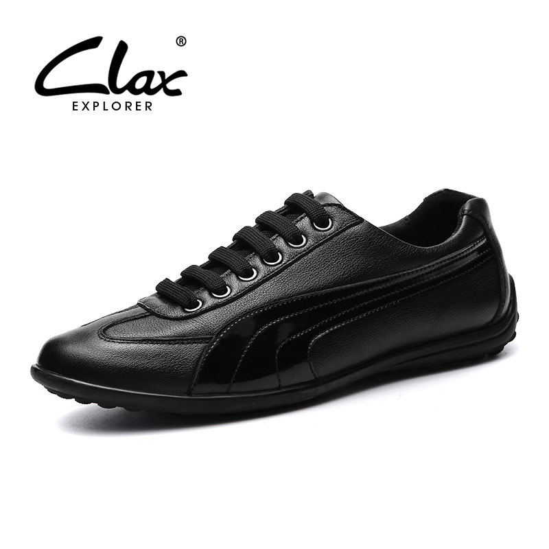 CLAX Men's Shoes Genuine Leather 2017 Autumn Shoe for male Designer Flat Casual Footwear British Leisure Shoe High Quality clax men loafers shoes slip on 2017 summer autumn leather shoe for male casual footwear flat moccasin boat shoe breathable