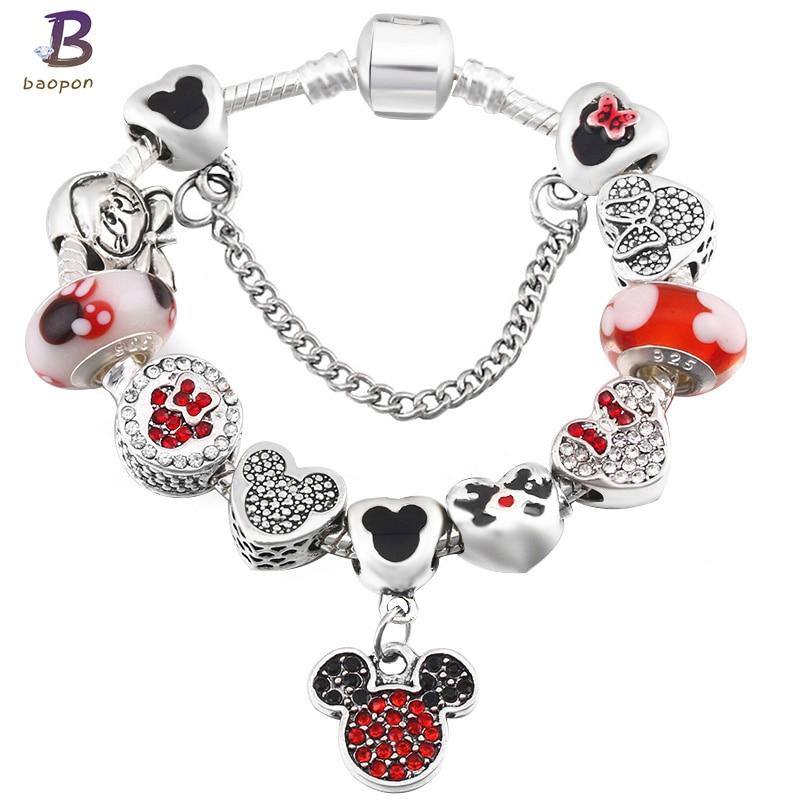 BAOPON A Variety of Design Charm Bracelet with Mickey Enamel Beads Women&Child Glass Pandora Bracelet Fit Women Jewelry