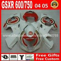 Высокий класс для популярных белый красный 2004 2005 SUZUKI GSXR 600 750 зализа K4 RIZLA версия gsxr600 айн GSX R750 7 подарок 04 05 793