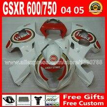 High grade for popular white red 2004 2005 SUZUKI GSXR 600 750 fairing K4 RIZLA version gsxr600 AIN GSX R750 7 gift 04 05 793