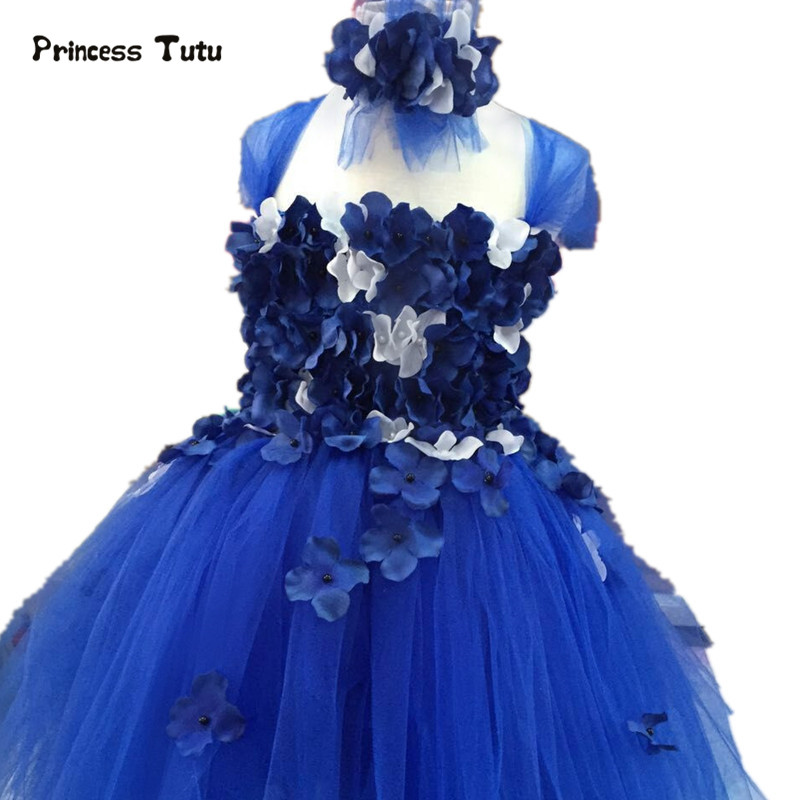 New Flower Tulle Girls Dress Blue White Navy Pink Pageant Princess Dress Girl Performance Wedding Party Tutu Dress Kids Vestidos girl navy blue princess dress kimono dress cute princess tutu dress