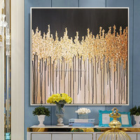 Gold tree acrylic painting on canvas quadros cuadros decoration gold leaf texture wall art pictures for living room home decor