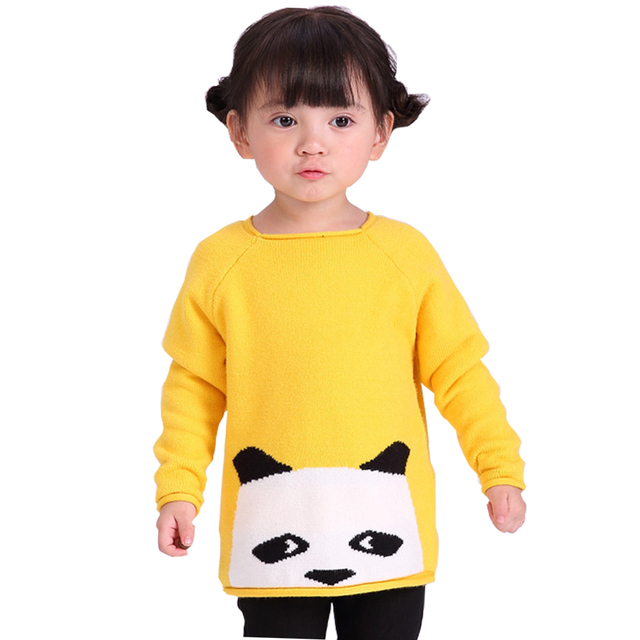 QUIKGROW 3-4 Years Adorable Cartoon Panda Little Kids Sweaters Girls Yellow Jumper Younger Children Knitwear Tops FE05MY