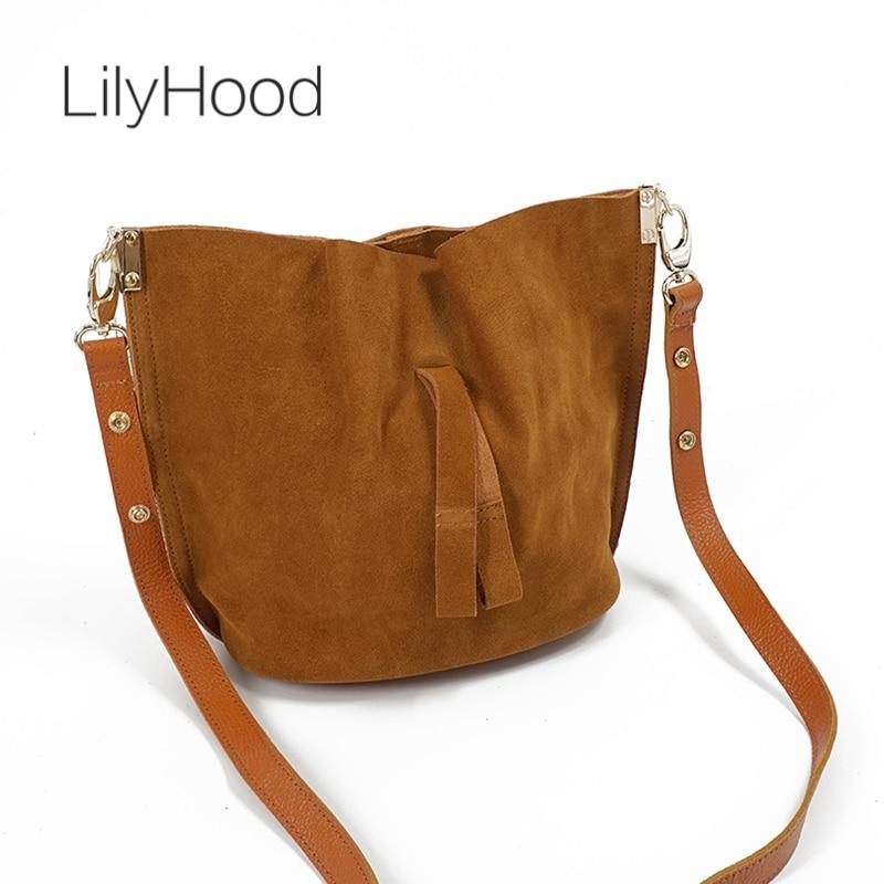 LilyHood 2018 Women Real Leather Messenger Bag Casual Vintage Simple Trendy Bucket Brown Nubuck Suede Feminine