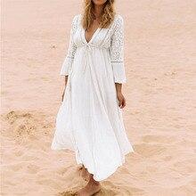 468b8e17eb8f412 NAIDEY для женщин кружево Сращивание Бикини Cover Up Длинные пляжная Парео  Пляжная туника платье хлопок белый
