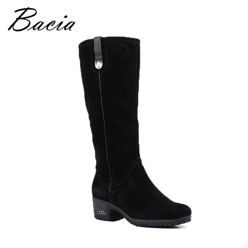Bacia New Sheep Suede Boots Knee-high Black Female Boots Wool Fur Winter Women Warm Snow Boots Genuine Leather Zip Shoes VF007 salu winter fashion sheep suede boots classic ankle shoes genuine leather wool fur warm square high heel women boots