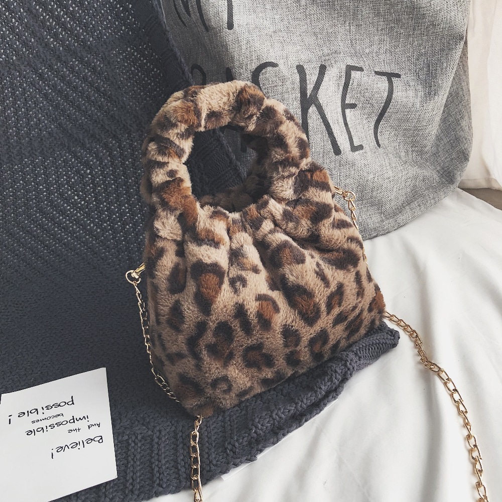 Mini Leopard Print Crossbody Bags For Women 2018 Handbags Messenger Bags Shoulder Bag Lady Faux Fur Small Bucket Chain Bags figure print chain bag