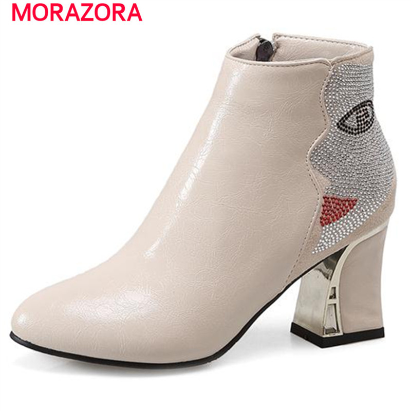 MORAZORA Delicate women shoes in spring autumn ankle boots high heels boots PU rhinestone fashion boots