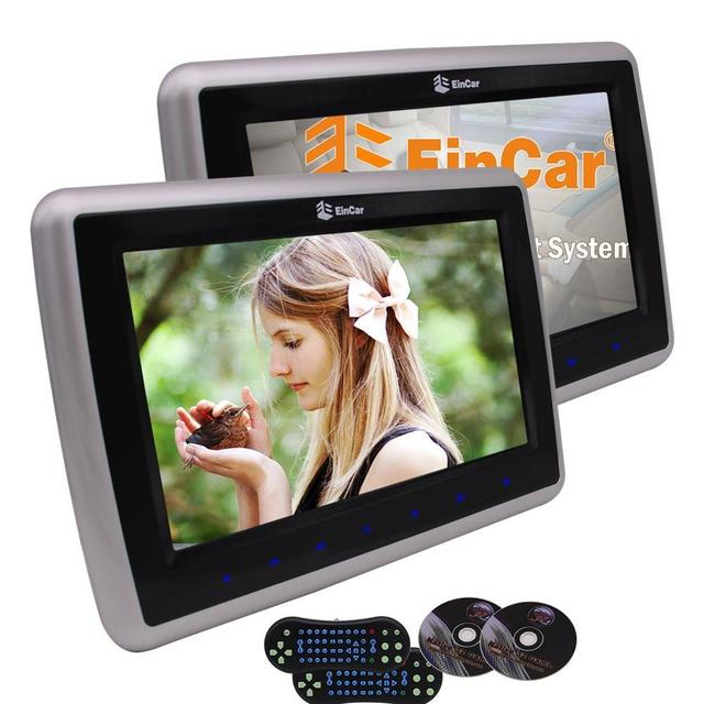 Pair HD TFT LCD Digital Screens Dual Car Headrest Portable DVD Player with Touch key Support TV Viedo Monitor HDMI and USB/SD FM