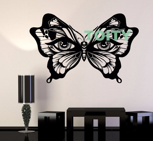 vinyl wall decal butterfly insect women's eyes art decor sticker