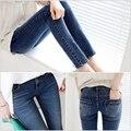 6 EXTRA GRANDE de Jeans Mulher Novo Pés calças de Brim Das Mulheres Do Vintage Versão coreana do Magro estiramento Calças Pés Finos Lápis Wornen calças de brim