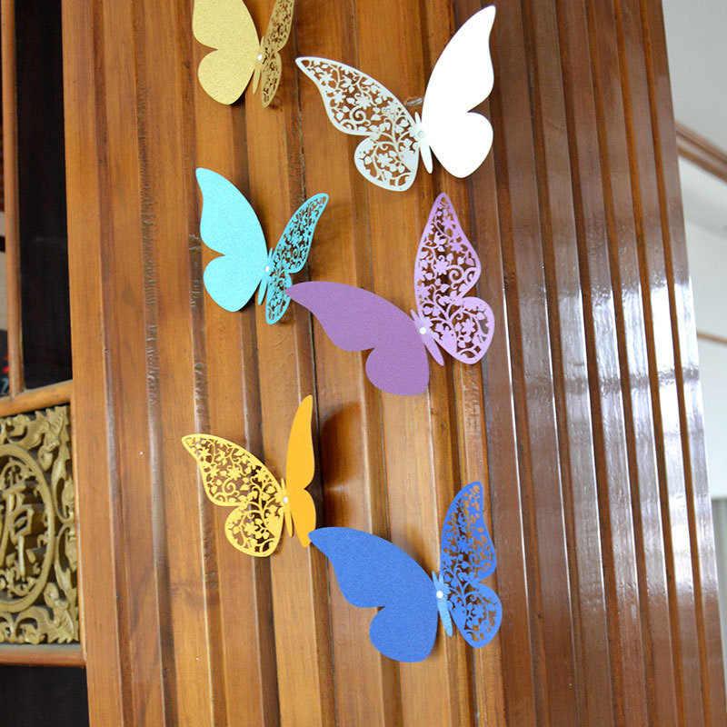 12 шт., наклейки на стену с объемными бабочками для украшения дома и свадьбы, многоцветные наклейки с бабочками на стену