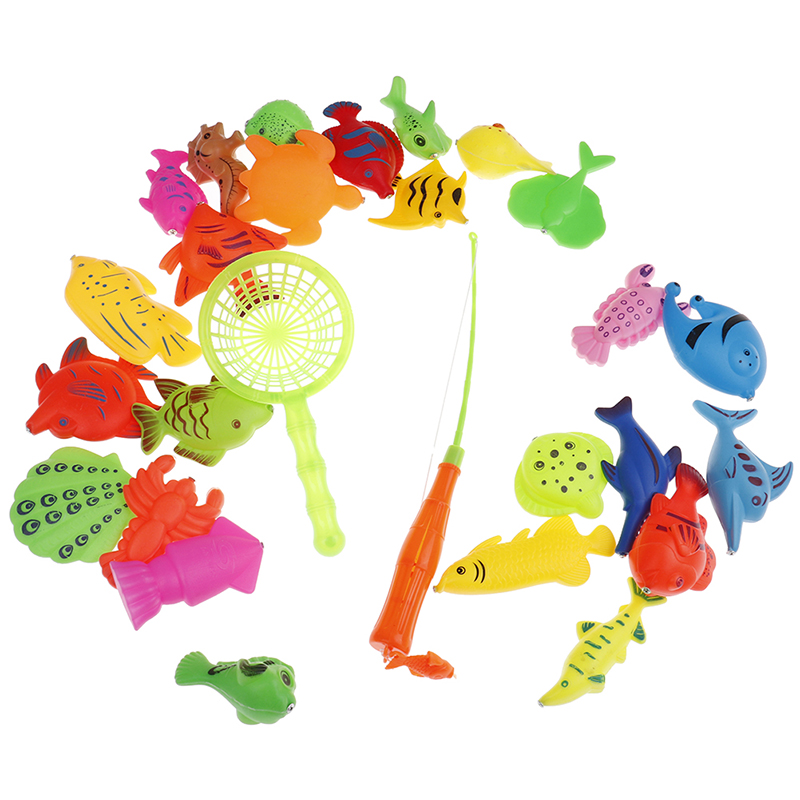 Fishing Toys Bright Boy Girl Fishing Toy Set Suit Magnetic Play Water Baby Toys Fish Square Gift Kids Fish Baby Bath Toys Outdoor Toy 15/27pcs Toys & Hobbies