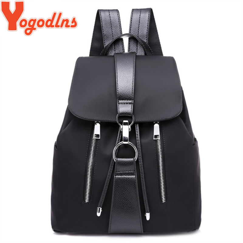 Yogodlns Women Backpack Preppy Style Back Bags For Teenage Girls Fashion Bag 2019 New Design Nylon Backpack Waterproof Rucksack