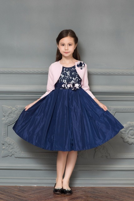12c689953cdb6 Navy Blue Satin Pattern Lace A-line Flower Girls Dress for Wedding With  Pink Wrap Bow Sash Girls First Communion Prom Dresses