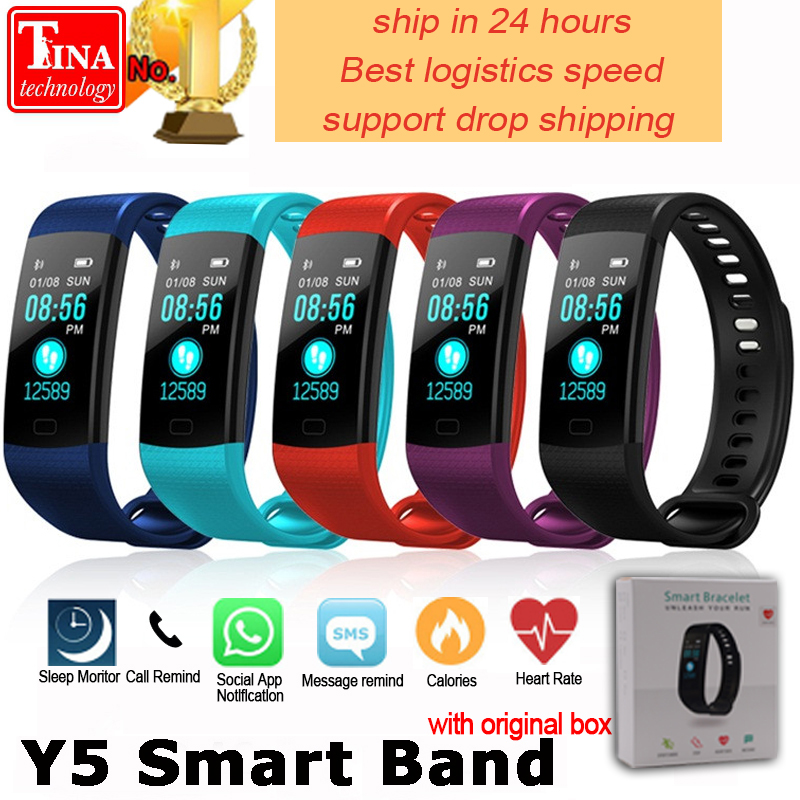 b2f443117b Y5 Smart Band Watch Color Screen Wristband Heart Rate Activity ...