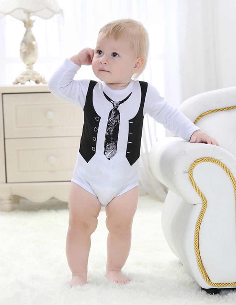 Летние для маленьких мальчиков одежда комбинезон белый новорожденных жилет галстук Одежда с рисунком маленьких Комбинезоны для малышек 2017 для новорожденных с длинными рукавами для маленьких мальчиков комбинезон для девочек