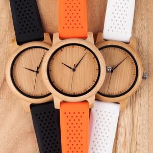 Image 5 - BOBO BIRD Women Watch Bamboo Wood Timepieces Silicone Straps relojes mujer marca de lujo Great Wrist Watch for Girls Accept Logo