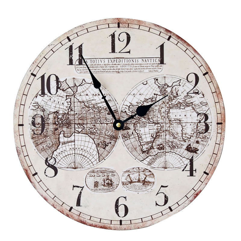 35cm world map wood large wall clock electronics nostalgia hanging clocks sitting room home decoration in wall clocks from home garden on aliexpresscom