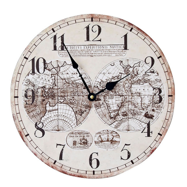 35cm world map wood large wall clock electronics nostalgia hanging 35cm world map wood large wall clock electronics nostalgia hanging clocks sitting room home decoration gumiabroncs Image collections