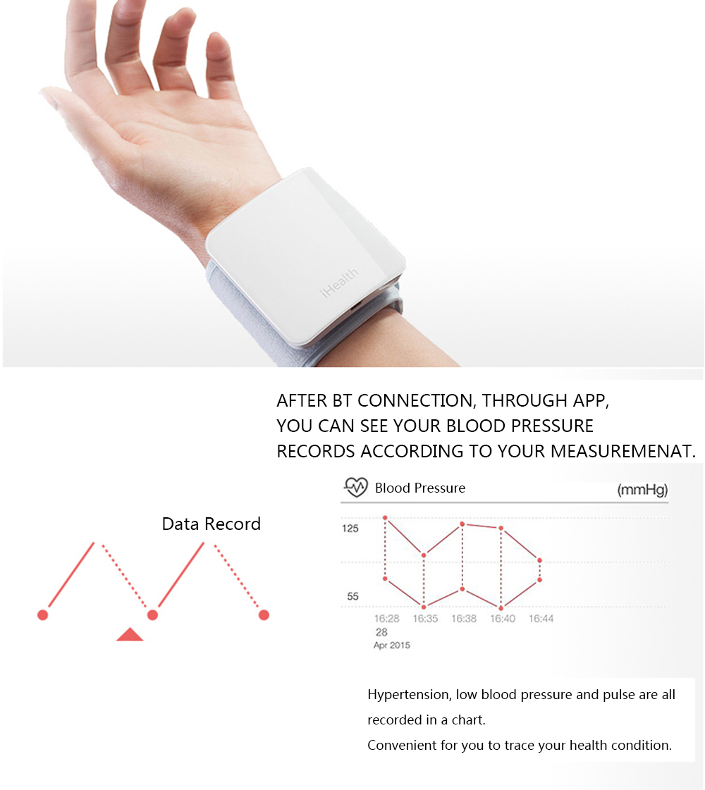 Image 4 - iHealth For Xiaomi Wrist Blood Pressure Monitor Smart Automatic Pulse Monitor Cuff Electric Sphygmomanometer Heart Beat Meter-in Blood Pressure from Beauty & Health