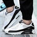 2016 Superstar Hombres Zapatos Casuales Atan Para Arriba Zapatos Para Caminar de Aire Entrenadores Zapatillas de Malla Transpirable Cómodo Cesta de Hombre Negro