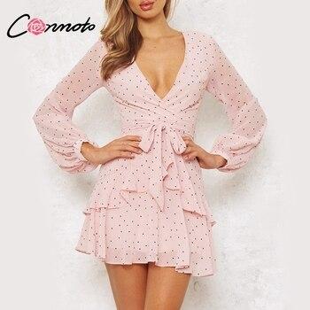 12bed6eac72 Conmoto Винтаж розовый горошек плиссированное платье сезон  весна–лето Для  женщин сетки с длинным рукавом Короткое сексуальное платье V шеи сл.