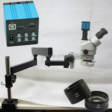 3.5X-90X Trinocular Articulating Arm Pillar Clamp Zoom Stereo Microscope+HDMI USB Camera+0.5X/2.0X Auxiliary Objective Lens
