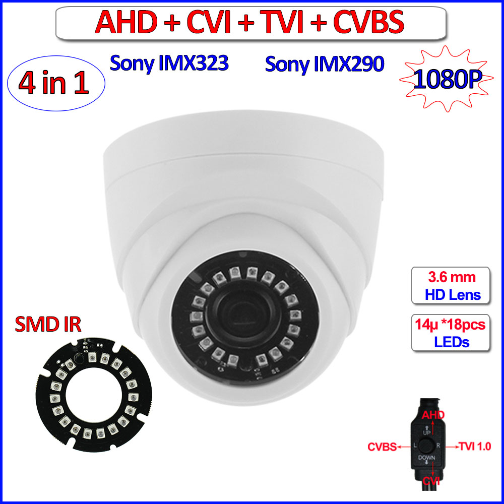 IMX290 IMX323 1080P AHD camera 4in1 HD Analog 2MP AHD-H CVI TVI 960H Color Night Vision CCTV, IR-CUT, WDR, 3DNR, OSD, 3.6mm Lens 4 in 1 ir high speed dome camera ahd tvi cvi cvbs 1080p output ir night vision 150m ptz dome camera with wiper